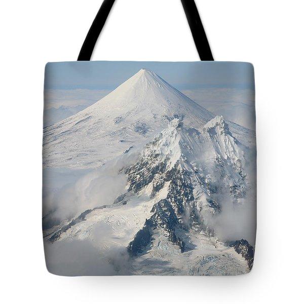 Aerial View Of Shishaldin Volcano Tote Bag by Richard Roscoe