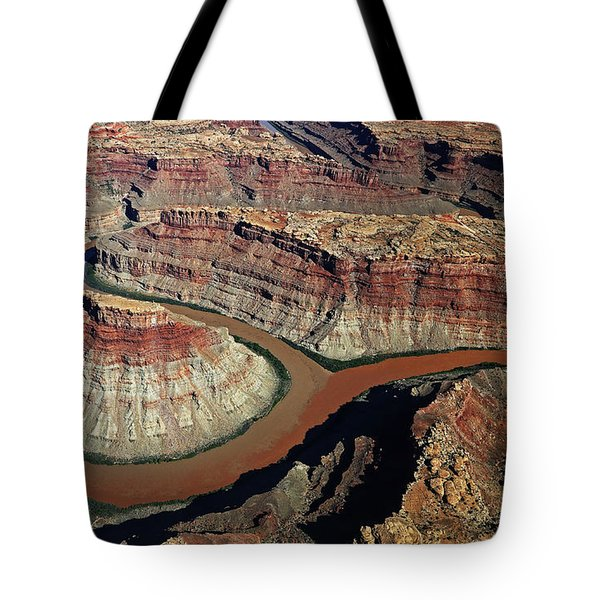 Aerial View Of The Confluence Of The Green And Colorado Rivers Tote Bag