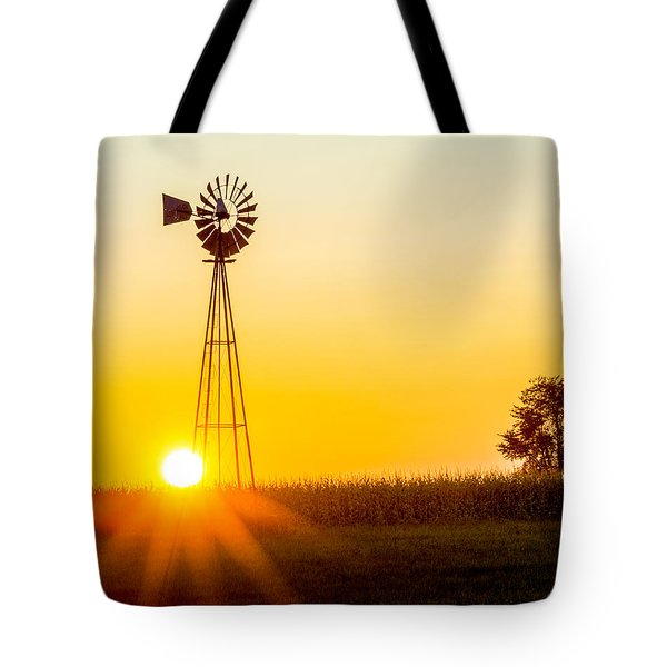 Aermotor Sunset Tote Bag by Chris Bordeleau