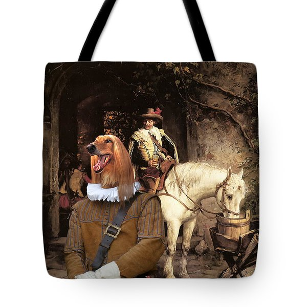 Afghan Hound-at The Tavern Canvas Fine Art Print Tote Bag