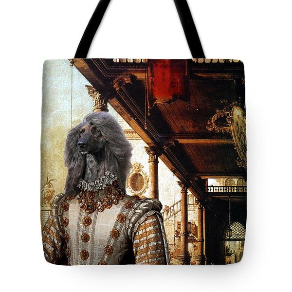 Afghan Hound-capriccio Of Colonade And The Courtyard Of A Palace Canvas Fine Art Print Tote Bag