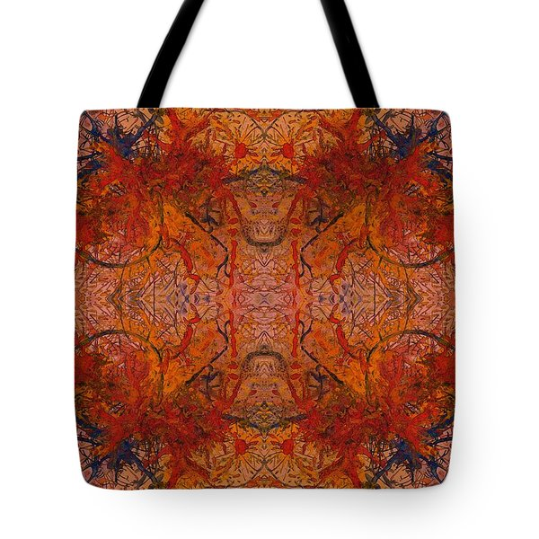 Aflame With Flower Quad Hotwaxed Version Of Acrylic/watercolour Tote Bag