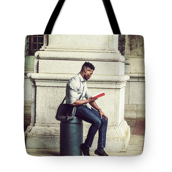 African American College Student Studying In New York Tote Bag