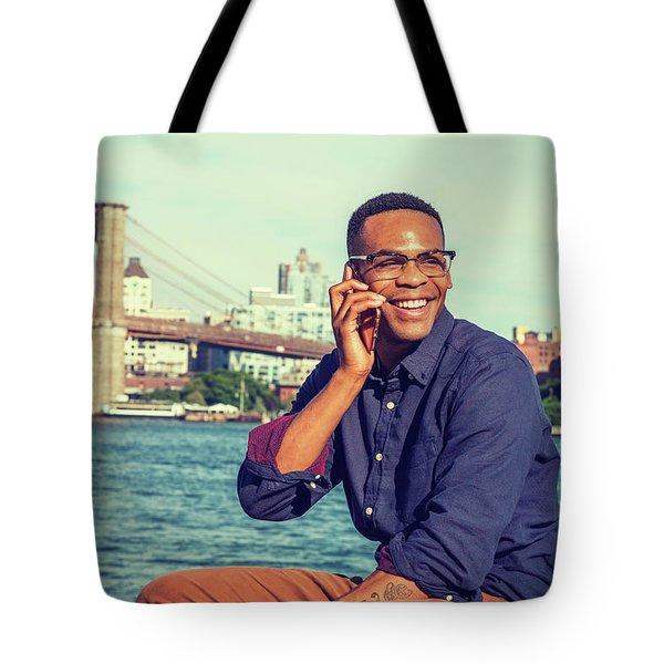 African American Man Traveling In New York Tote Bag