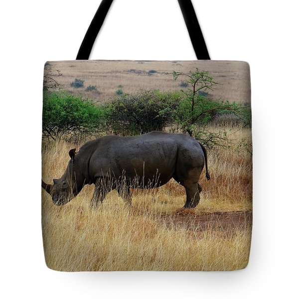 African Animals On Safari - One Very Rare White Rhinoceros Right Angle With Background Tote Bag