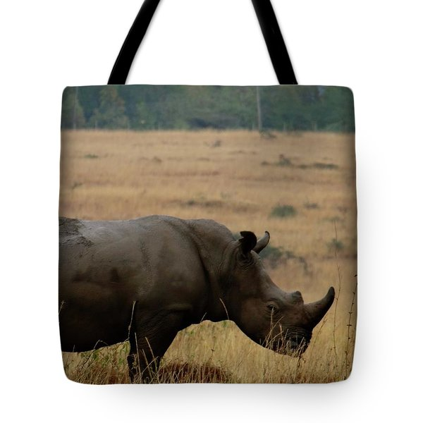 African Animals On Safari - One Very Rare White Rhinoceros With Background Tote Bag