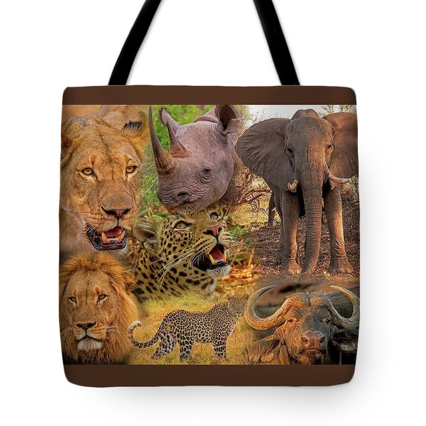 Tote Bag featuring the photograph African Big Five Montage by Larry Linton