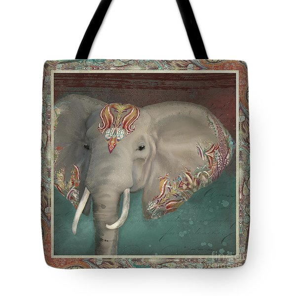 Tote Bag featuring the painting African Bull Elephant - Kashmir Paisley Tribal Pattern Safari Home Decor by Audrey Jeanne Roberts