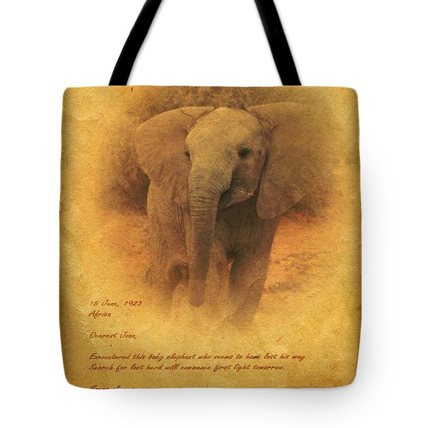 Tote Bag featuring the mixed media African Elephant by John Wills