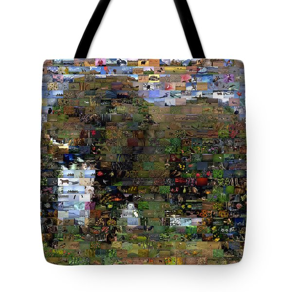 Tote Bag featuring the mixed media African Elephant Wild Animal Mosaic by Paul Van Scott