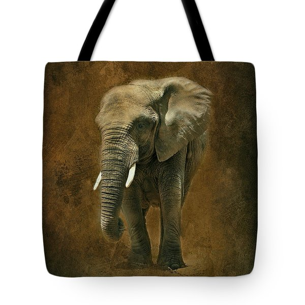 African Elephant With Textures Tote Bag