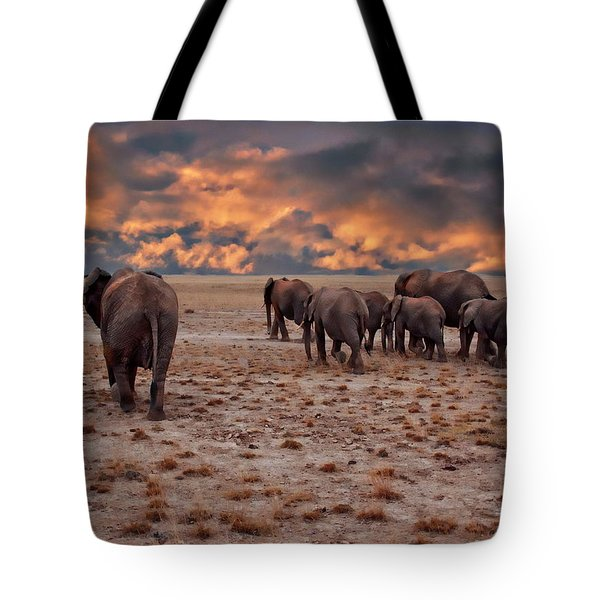 African Elephants Tote Bag by Anthony Dezenzio