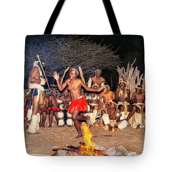 African Fire Dance Tote Bag by Rick Bragan