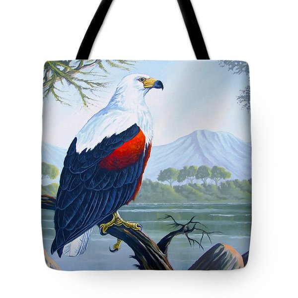Tote Bag featuring the painting African Fish Eagle by Anthony Mwangi