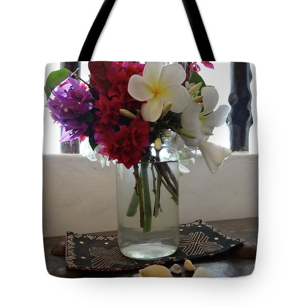 African Flowers And Shells Tote Bag