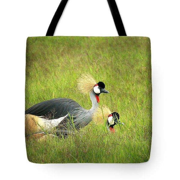 African Gray Crown Crane Tote Bag