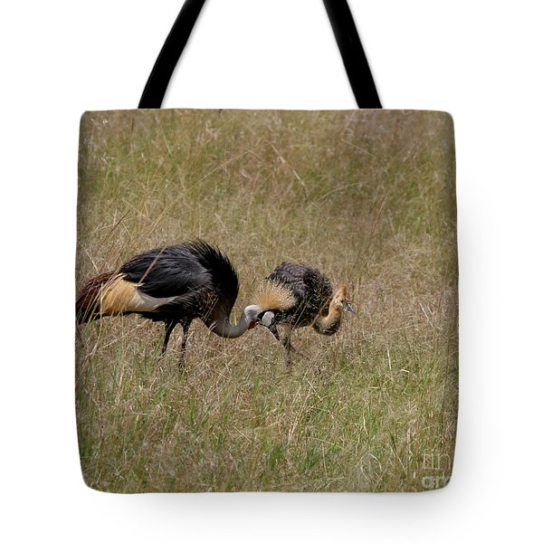 African Grey Crowned  Crane With Chick Tote Bag