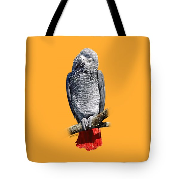 African Grey Parrot C Tote Bag by Owen Bell