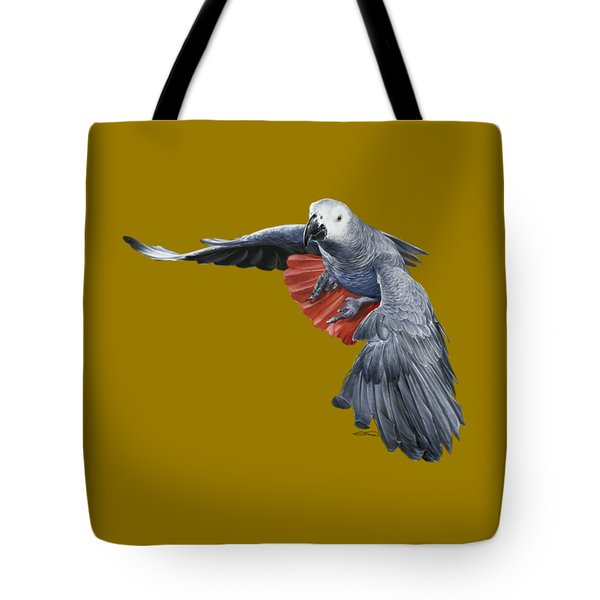 African Grey Parrot Flying Tote Bag by Owen Bell