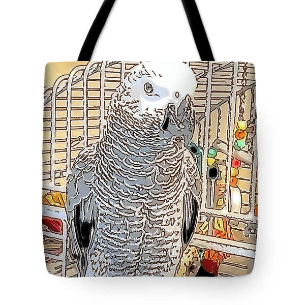 African Grey Parrot In Pencil Tote Bag