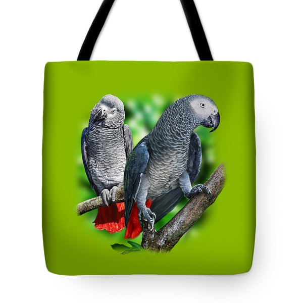 African Grey Parrots A Tote Bag by Owen Bell