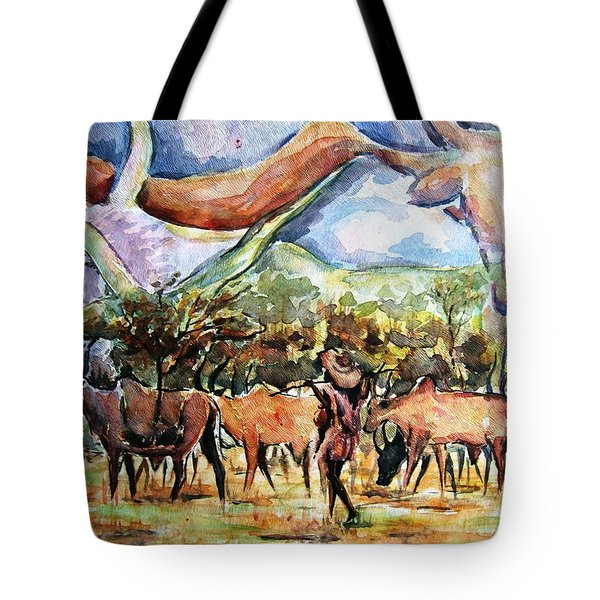 African Herdsmen Tote Bag by Bankole Abe