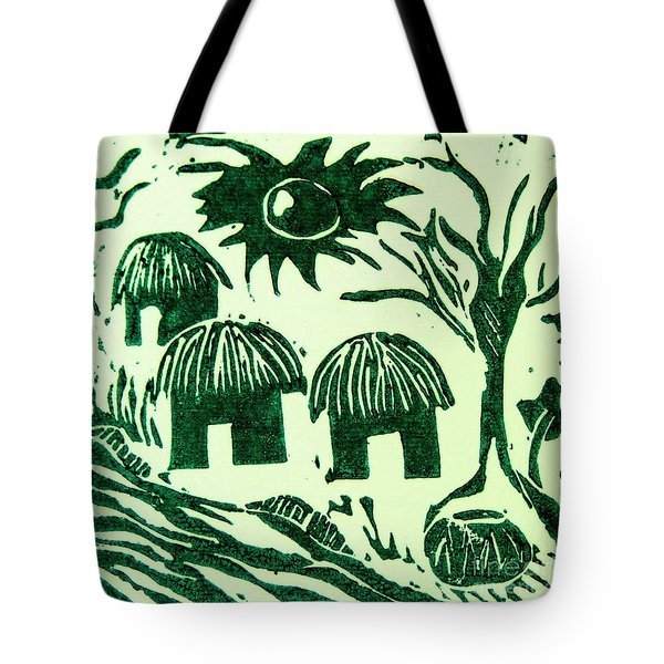 African Huts Tote Bag by Caroline Street