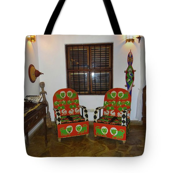 African Interior Design 5 Beaded Chairs Tote Bag