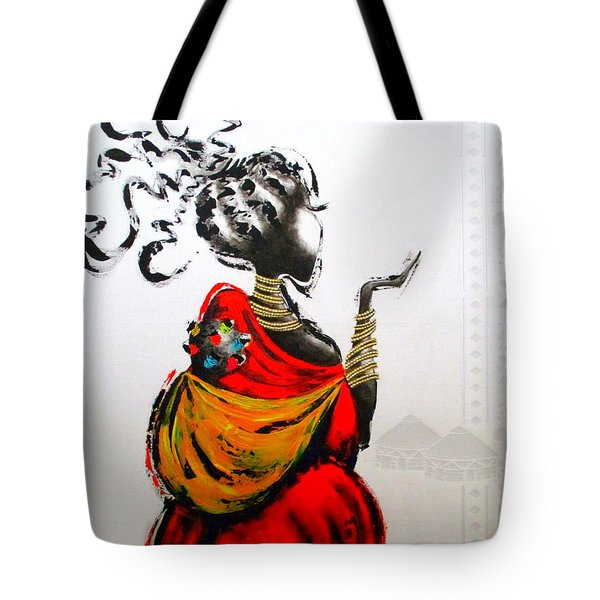 African Lady And Baby Tote Bag