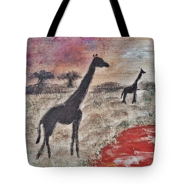 African Landscape Giraffe And Banya Tree At Watering Hole With Mountain And Sunset Grasses Shrubs Sa Tote Bag by MendyZ