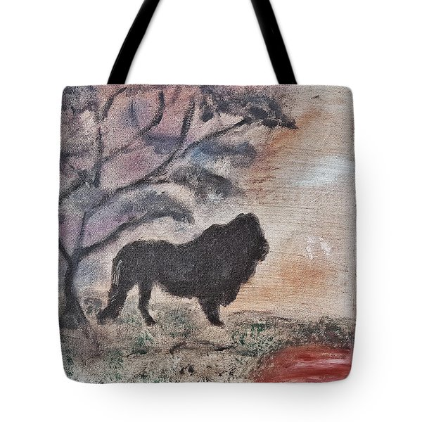 African Landscape Lion And Banya Tree At Watering Hole With Mountain And Sunset Grasses Shrubs Safar Tote Bag