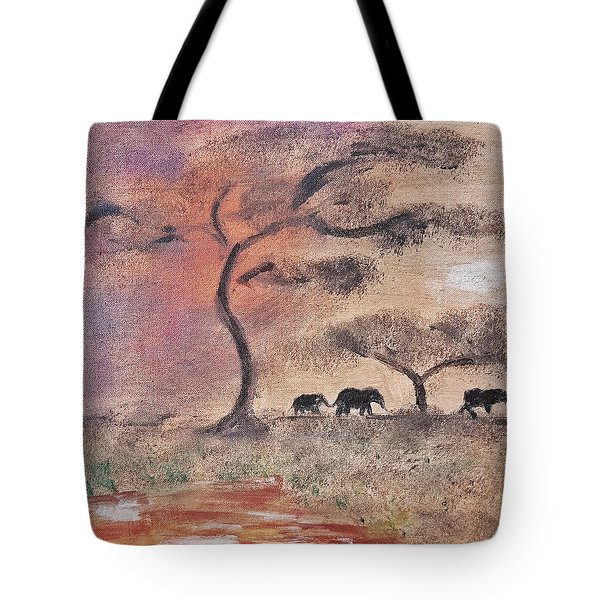 African Landscape Three Elephants And Banya Tree At Watering Hole With Mountain And Sunset Grasses S Tote Bag