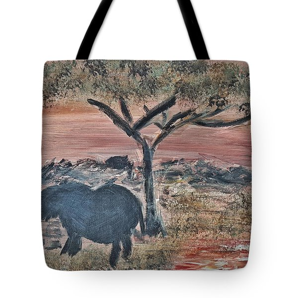 African Landscape With Elephant And Banya Tree At Watering Hole With Mountain And Sunset Grasses Shr Tote Bag