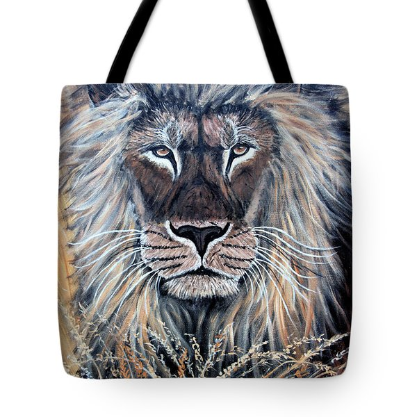 African Lion Tote Bag by Nick Gustafson