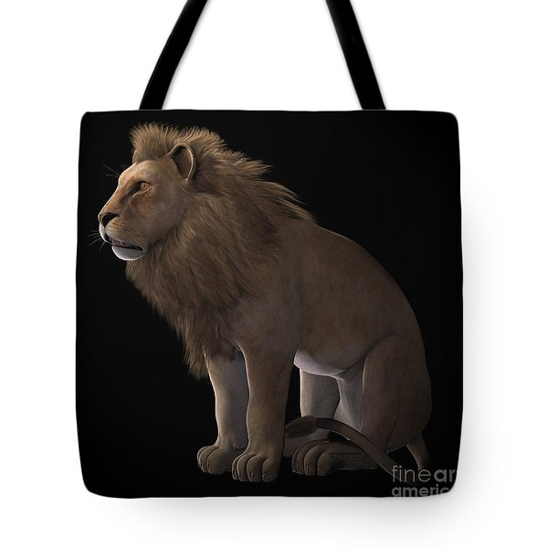 African Lion On Black Tote Bag