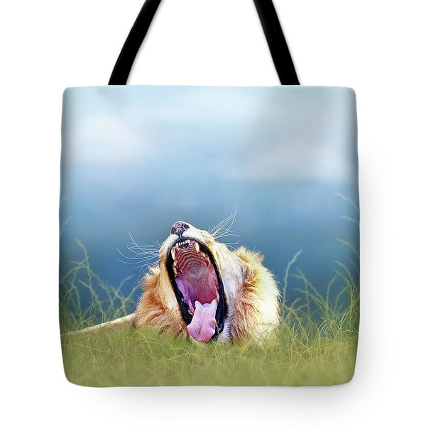 African Lion Yawning In Tall Grass Tote Bag