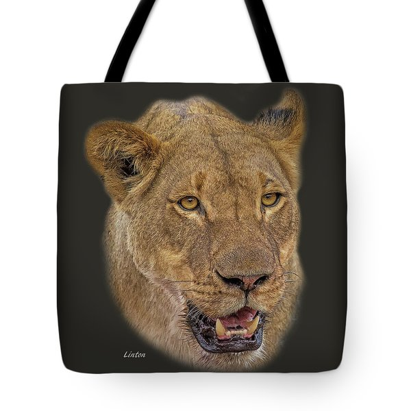 Tote Bag featuring the digital art African Lioness Tee by Larry Linton