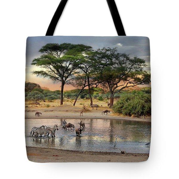 African Safari Wildlife At The Waterhole Tote Bag