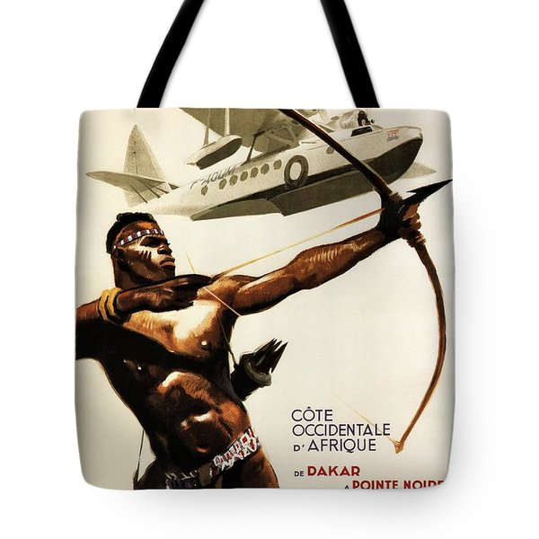 African Tribal Archer - Vintage Travel Poster By Aeromaritime - Dakar, Africa Tote Bag