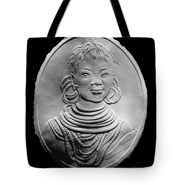 Tote Bag featuring the relief African Turkana Woman by Suhas Tavkar