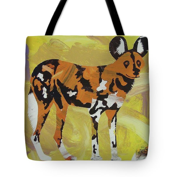 Tote Bag featuring the painting African Wild Dog by Candace Shrope