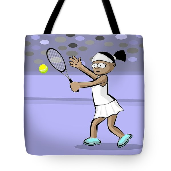 Afro-descendant Girl Playing Tennis Tote Bag