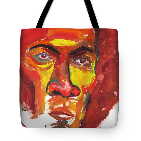 Tote Bag featuring the painting Afro by Shungaboy X