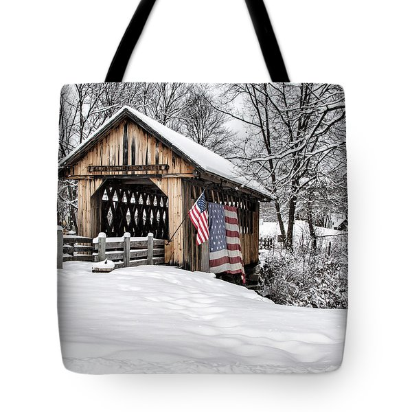 After A Winter Snow Storm Cilleyville Covered Bridge  Tote Bag