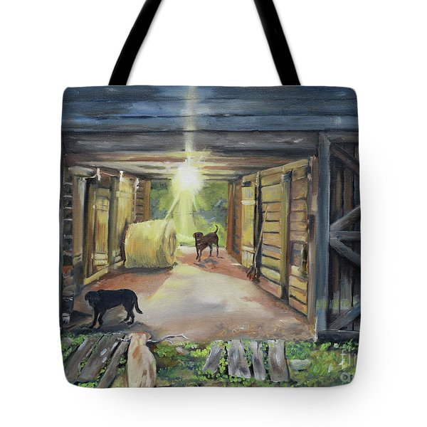 Tote Bag featuring the painting After Hours In Pa's Barn - Barn Lights - Labs by Jan Dappen