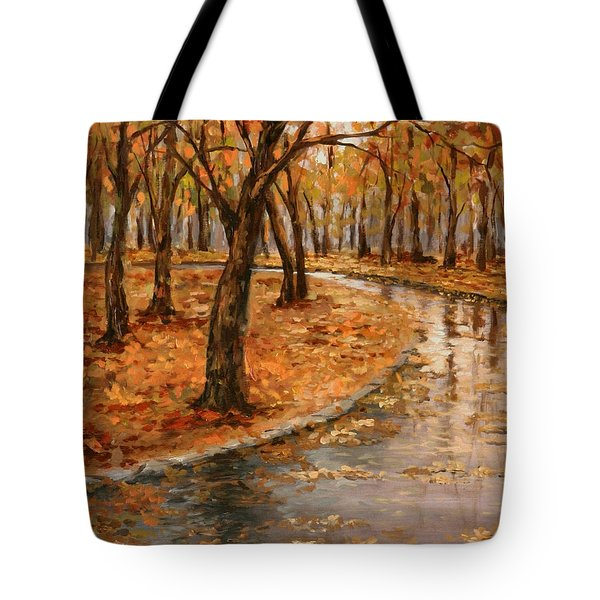 After Rain,walk In The Central Park Tote Bag