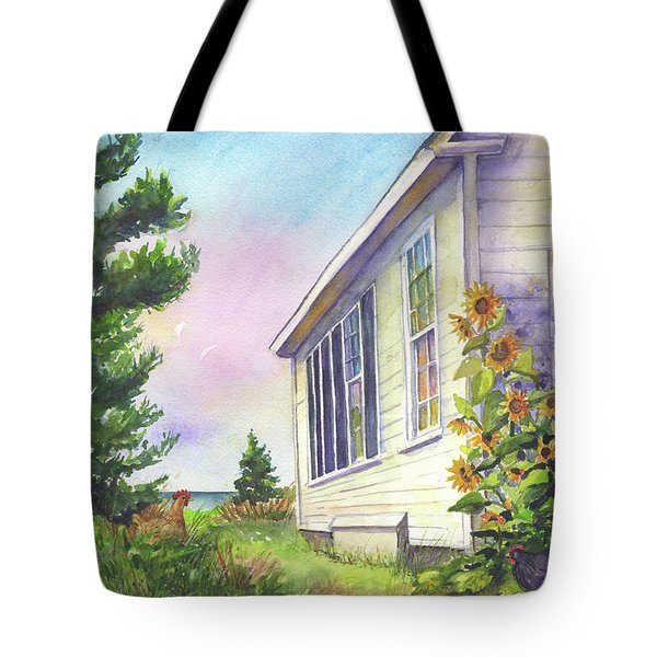 Tote Bag featuring the painting After School Activities At Monhegan School House by Susan Herbst