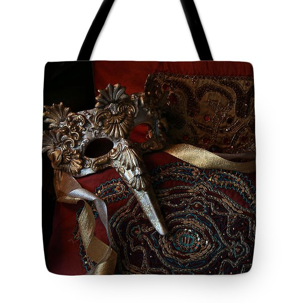 After The Ball - Venetian Mask Tote Bag by Yvonne Wright