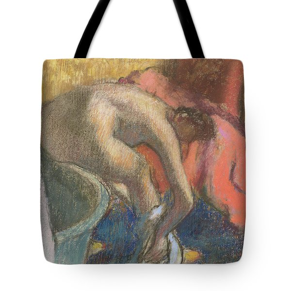 After The Bath, Woman Drying Her Leg   The Red Robe Tote Bag
