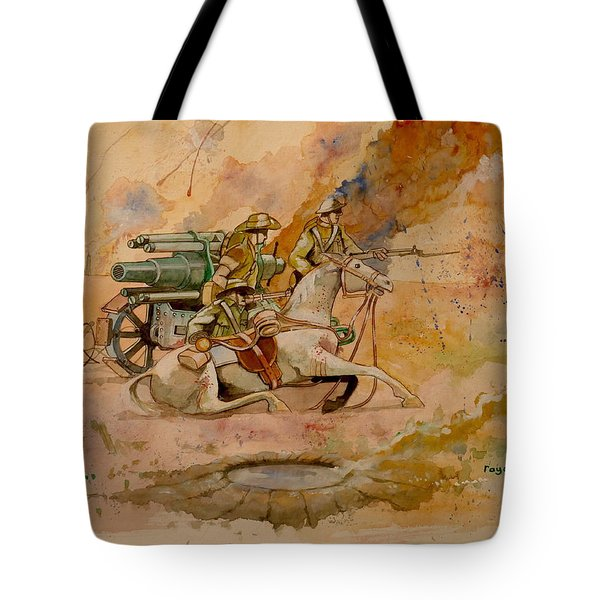 Tote Bag featuring the painting After The Charge by Ray Agius